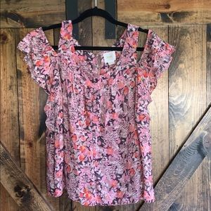 Anthropologie Maeve floral cold shoulder blouse!
